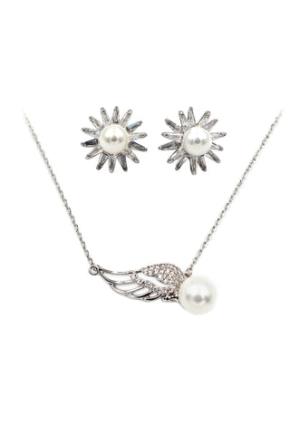 best selling crystal swan necklace earrings set