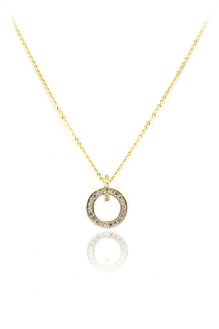 fashion tricolor small circle pendant necklace