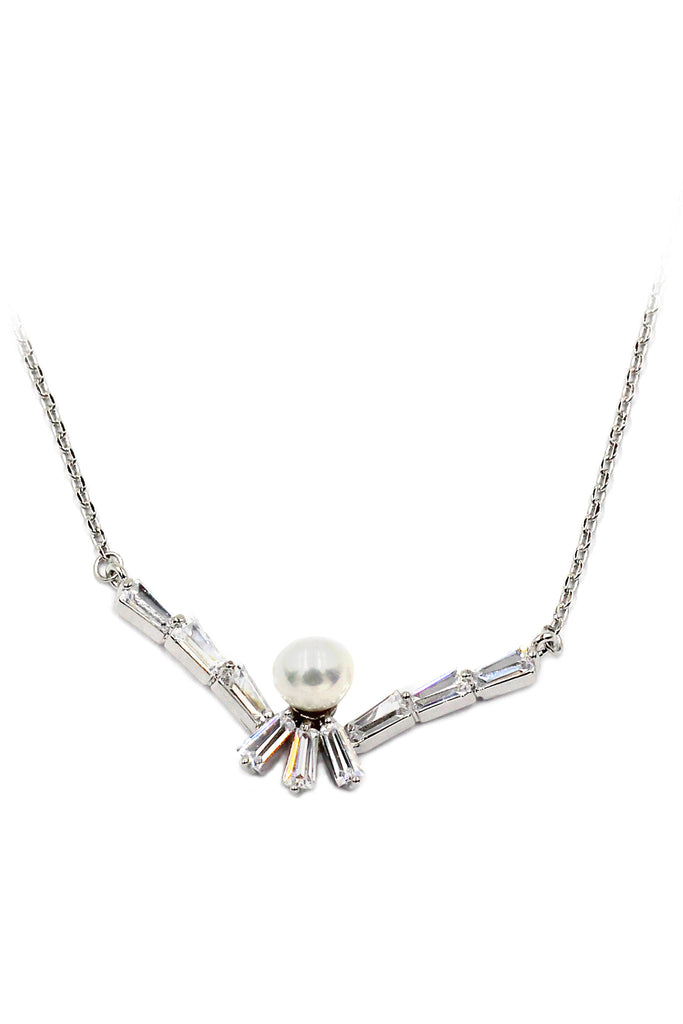 delicate mini crystal pearl necklace earrings silver set