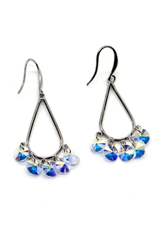 lovely flower and cubic gold rim earrings