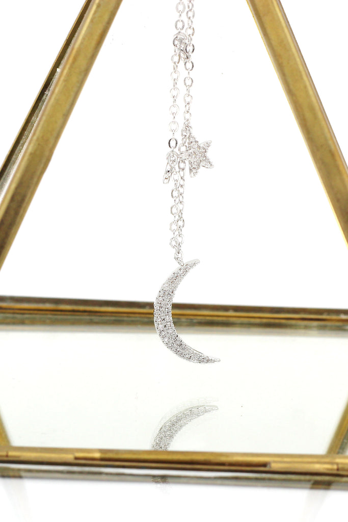 shiny star moon crystal necklace