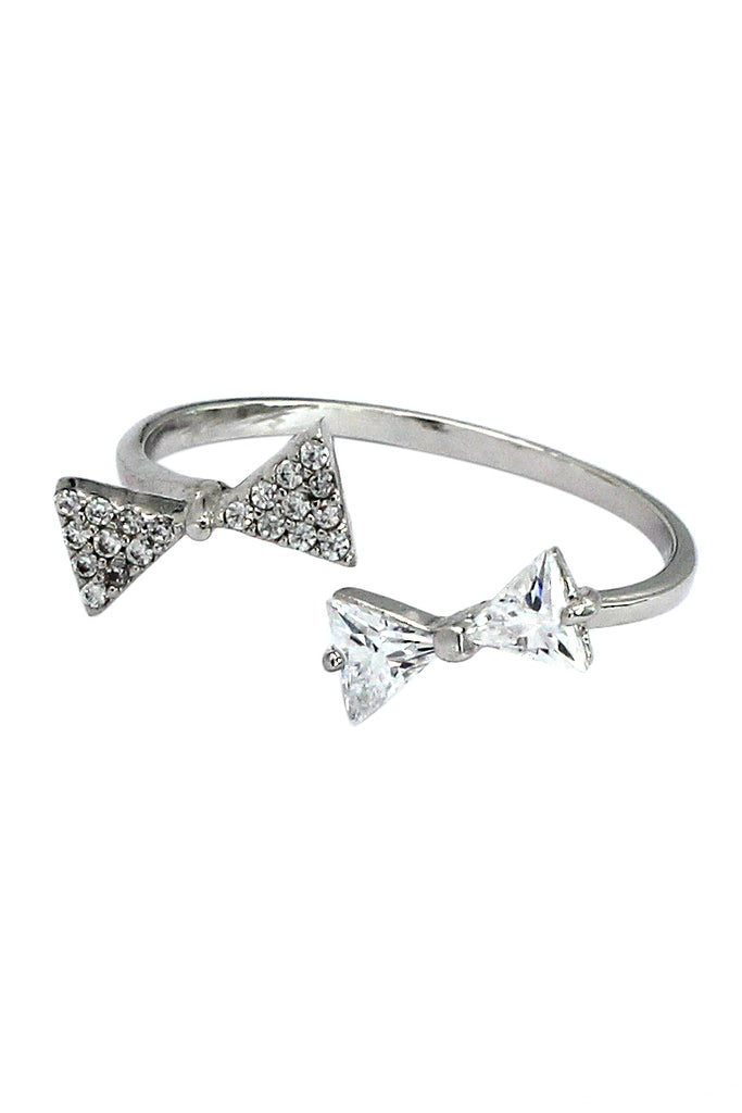 bow open crystal ring