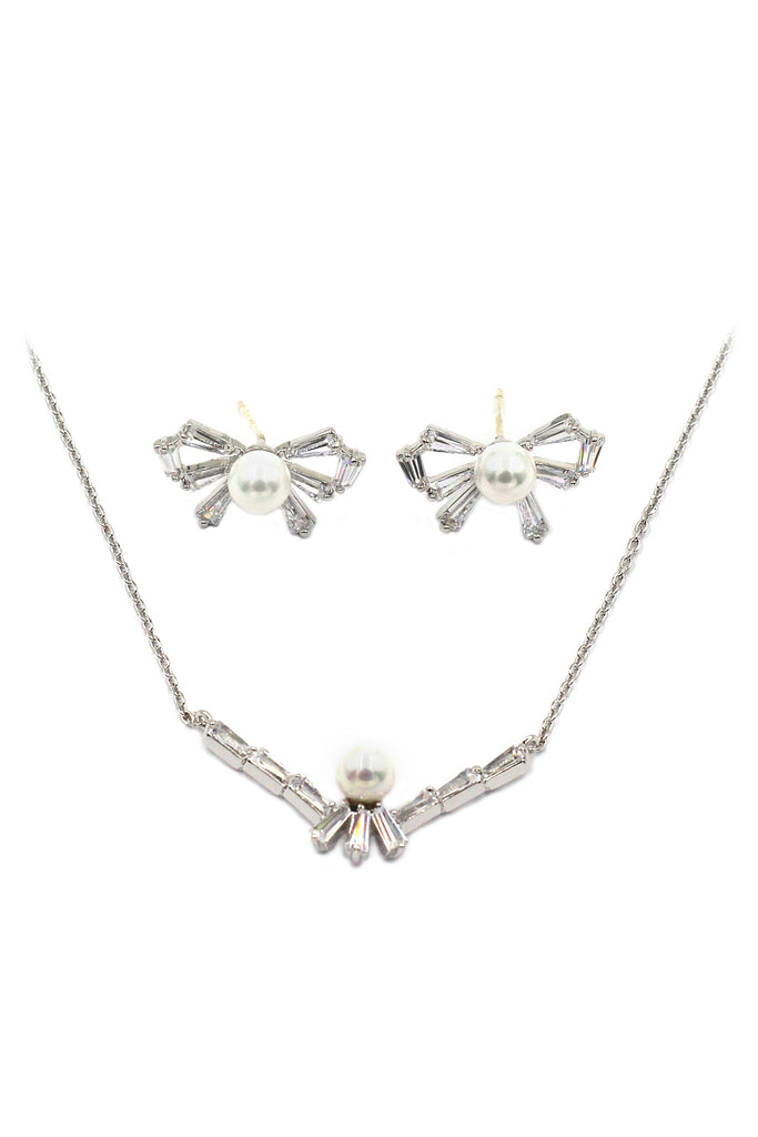 simple rosette crystal and pearl necklace earrings set