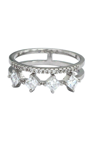 dense micro-inlay crystal silver ring