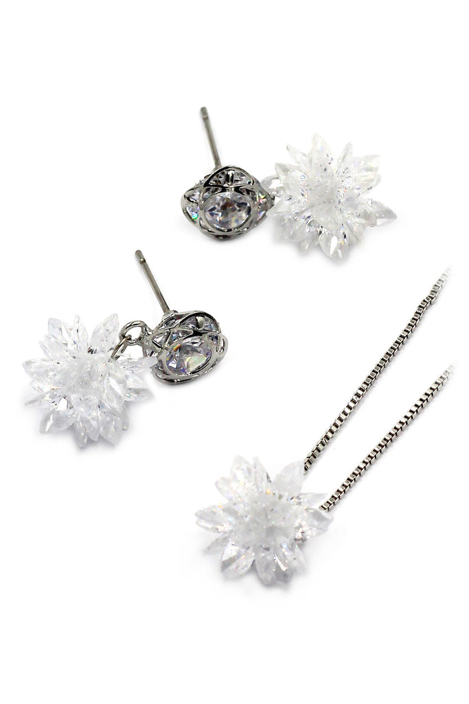 glittering translucent snowflake crystal silver set