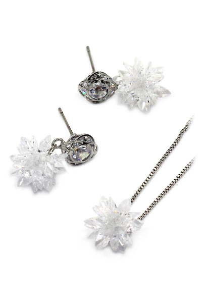 snowflake crystal earrings necklace set