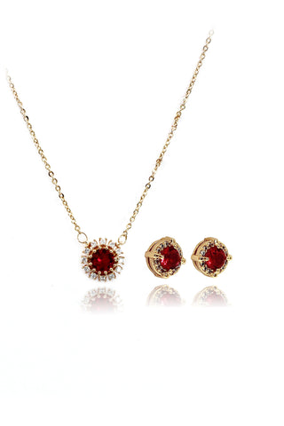 fashion silver red crystal earrings necklace set