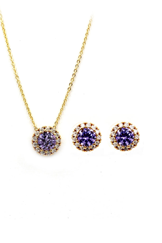 fashion gold crystal earrings necklace set