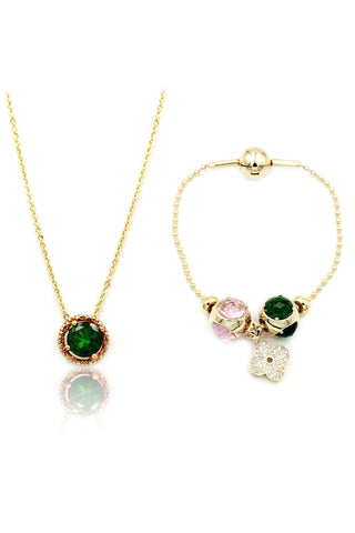 temperament crystal necklace ring set
