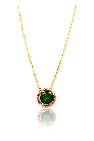 green small fresh crystal pendant necklace
