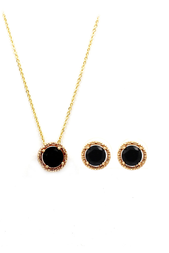 fashion gold four-claw crystal earrings necklace set