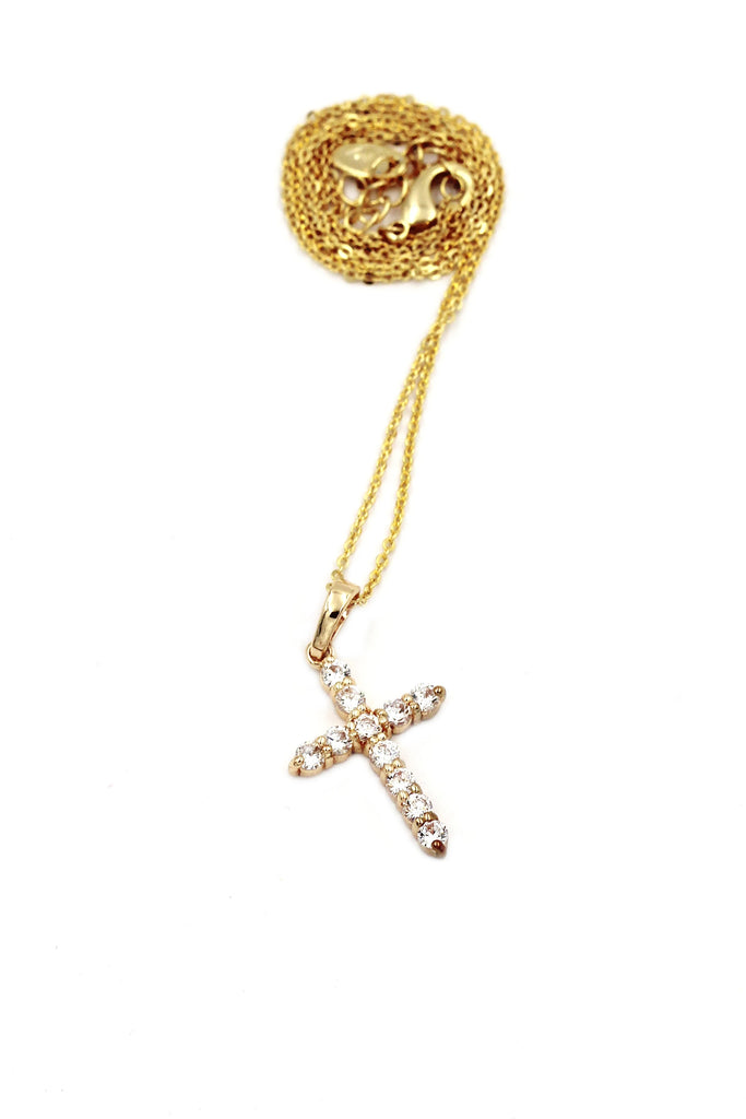 golden crystal cross necklace earring set