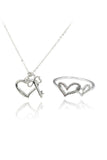 elegant heart necklace ring set
