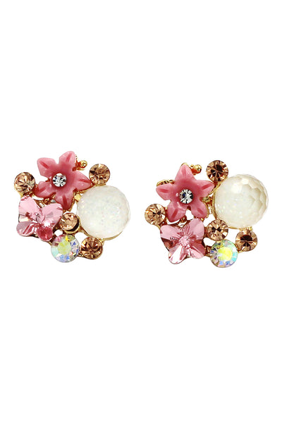 bright crystal beetle flower earrings