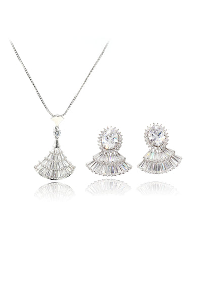 scalloped crystal earrings necklace set