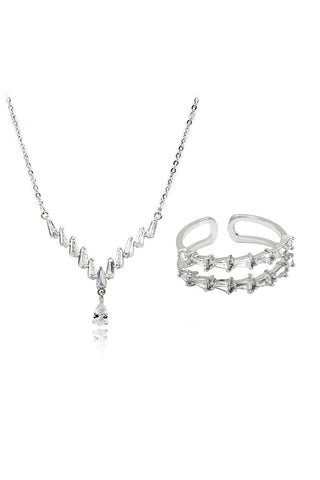 square Swarovski necklace earrings set