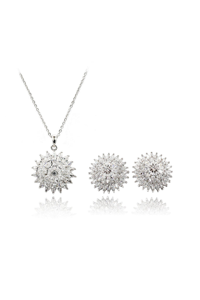 shiny silver earrings necklace crystal set