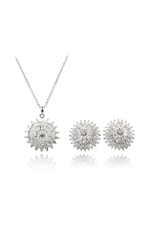 fashion crystal ball earrings necklace set