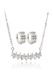 row crystal earring necklace set