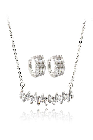 silver square necklace earrings set