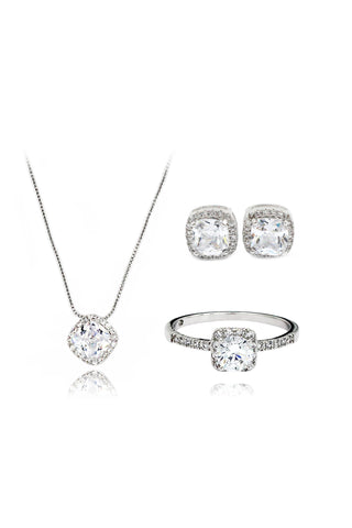 fashion square crystal necklace lifting earring set