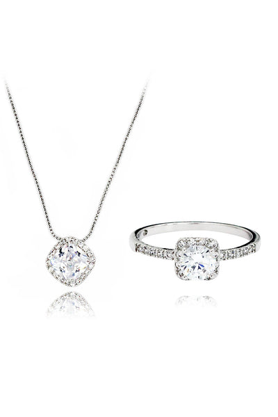 silver square crystal necklace ring set