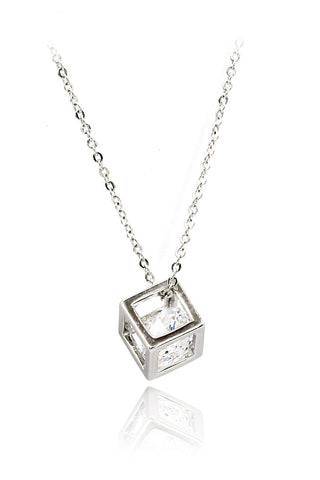 crystal cross silver necklace