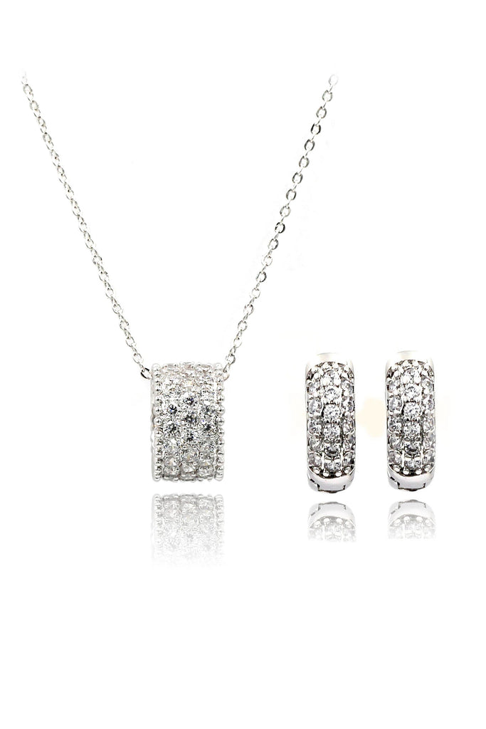 wild crystal small circle necklace earrings set