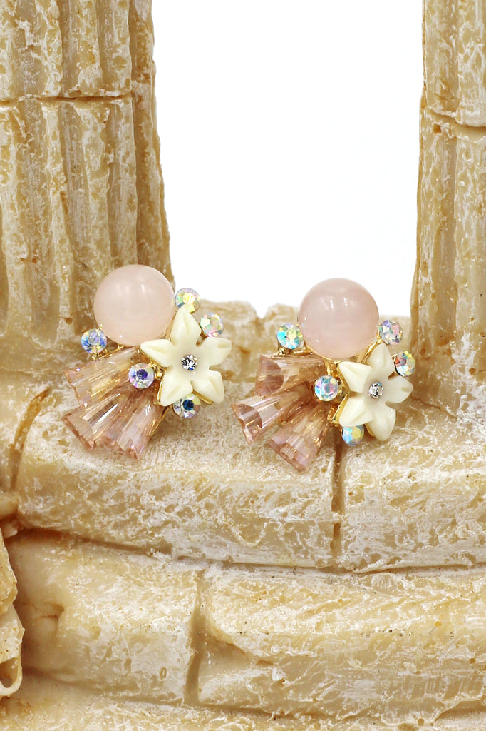 sweet crystal ball shell flowers earrings