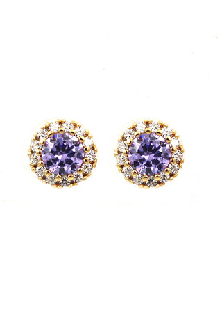 Flowers purple crystal earrings