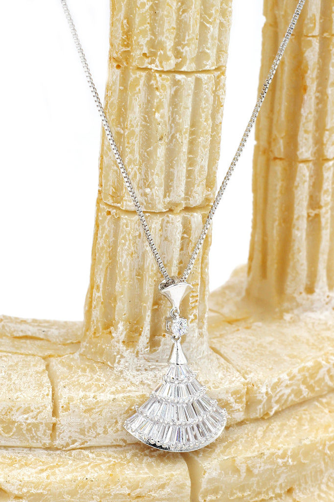 sparkling crystal dress silver necklace