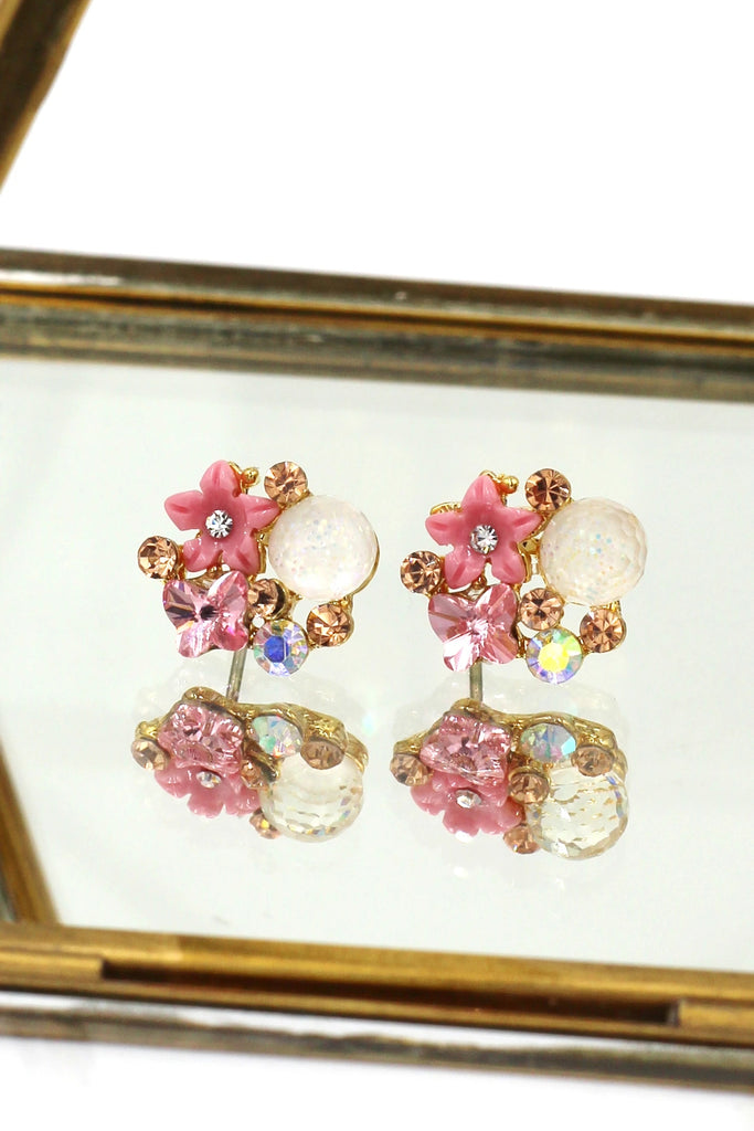 cute pink crystal earrings necklace set