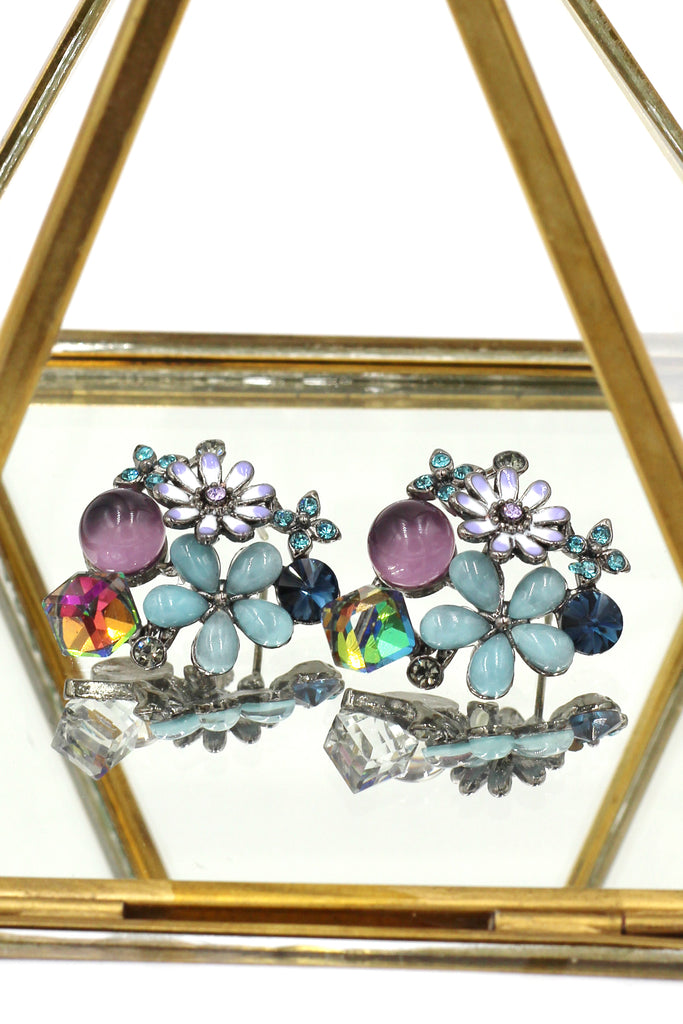 beautiful purple crystal flower earrings
