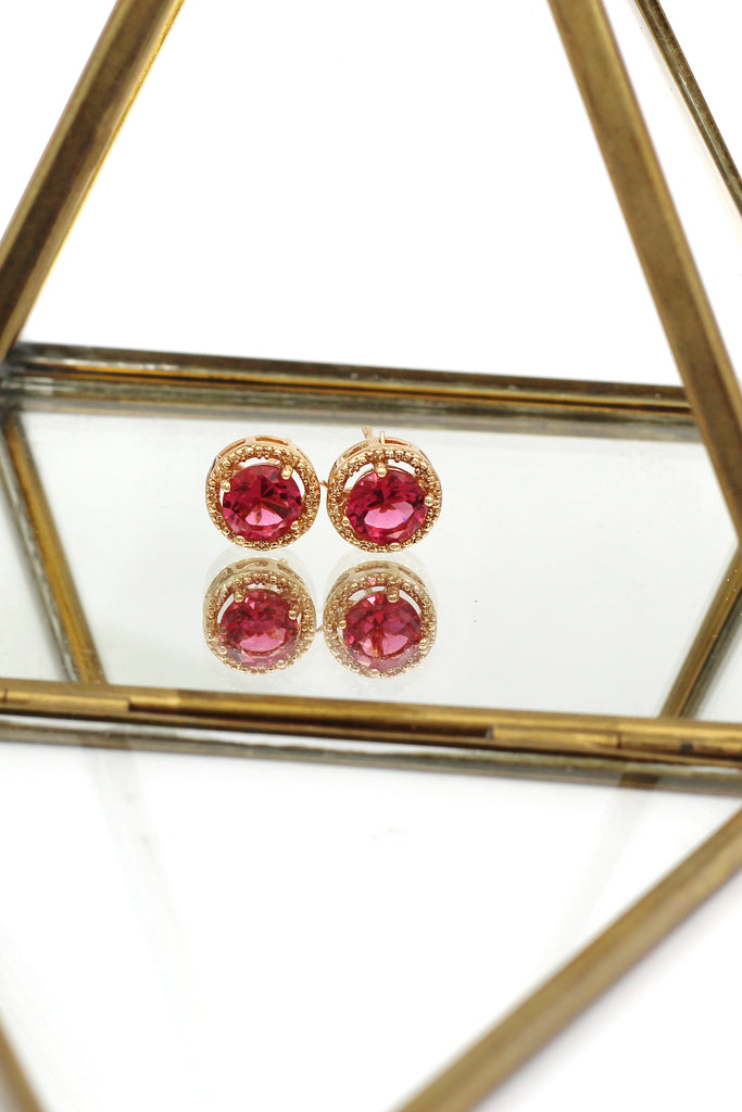 golden four-claw crystal earrings