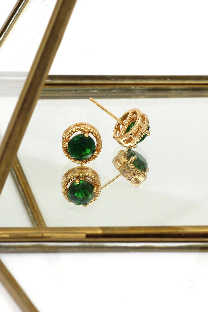 green crystal earring bracelet set