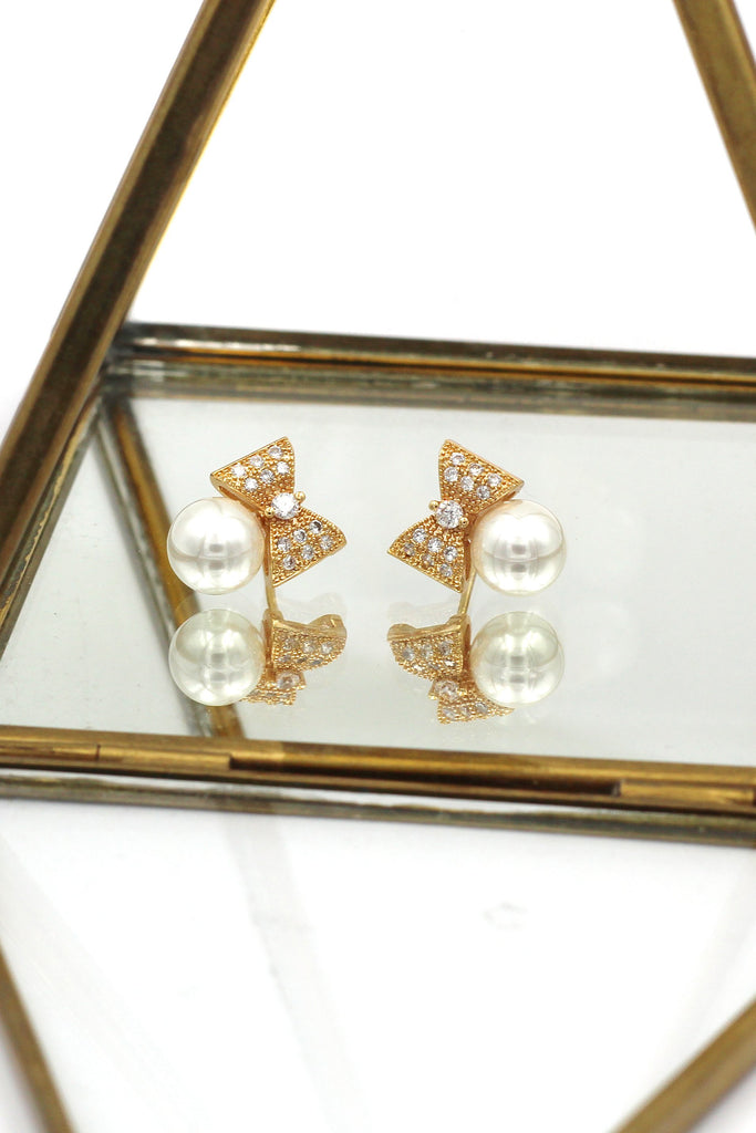 Small bow crystal pearl earrings necklace set