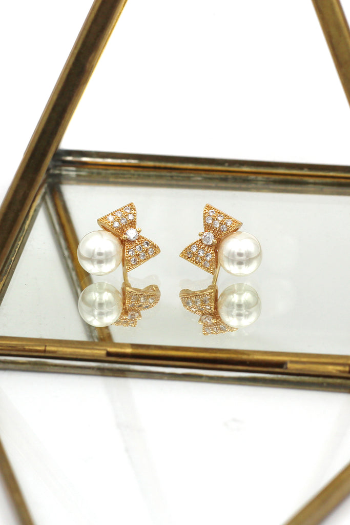 mini cute bow pearl earrings
