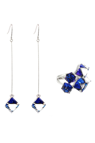 blue crystal pendant earrings ring set