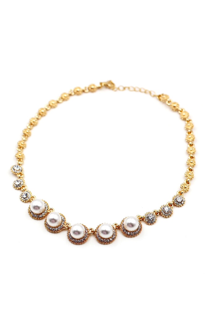golden pearls crystal necklace