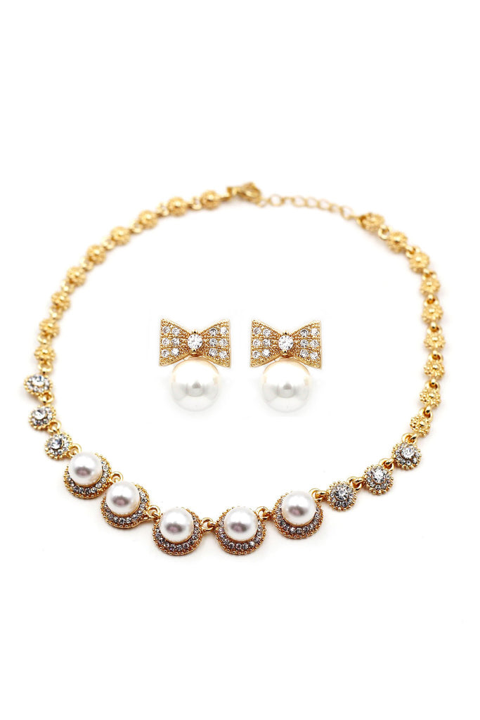 elegant bow crystal pearl earring necklace set