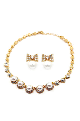 shiny crystal bracelet necklace earring set