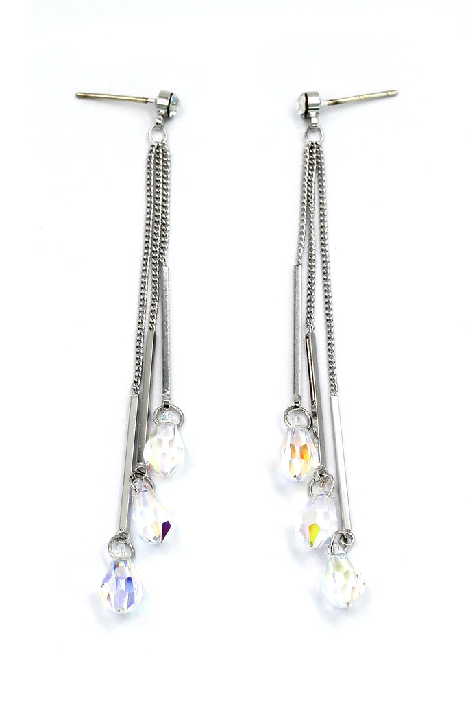 lady tassel crystal drop silver earrings