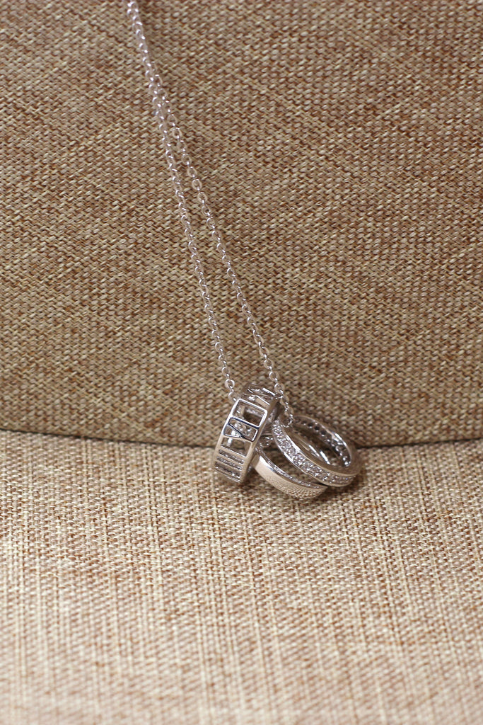lady circle crystal silver necklace