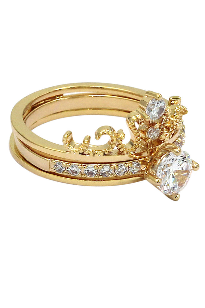 noble crystal crown gold ring
