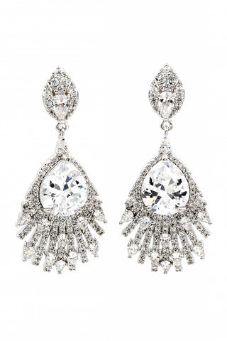 fashion blue crystal silver rim earrings