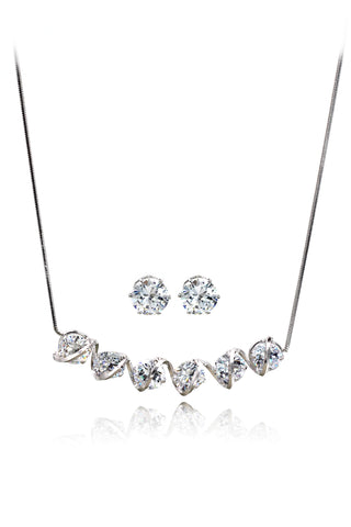 shiny four-claw crystal ring necklace set
