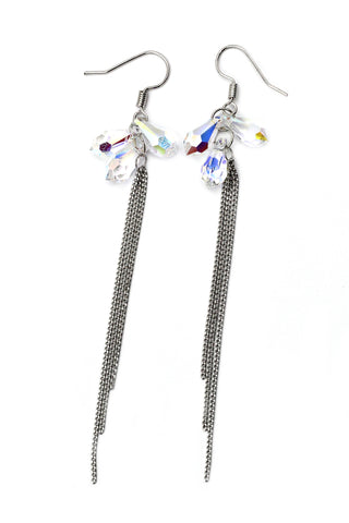 fashion crystal cross long earrings