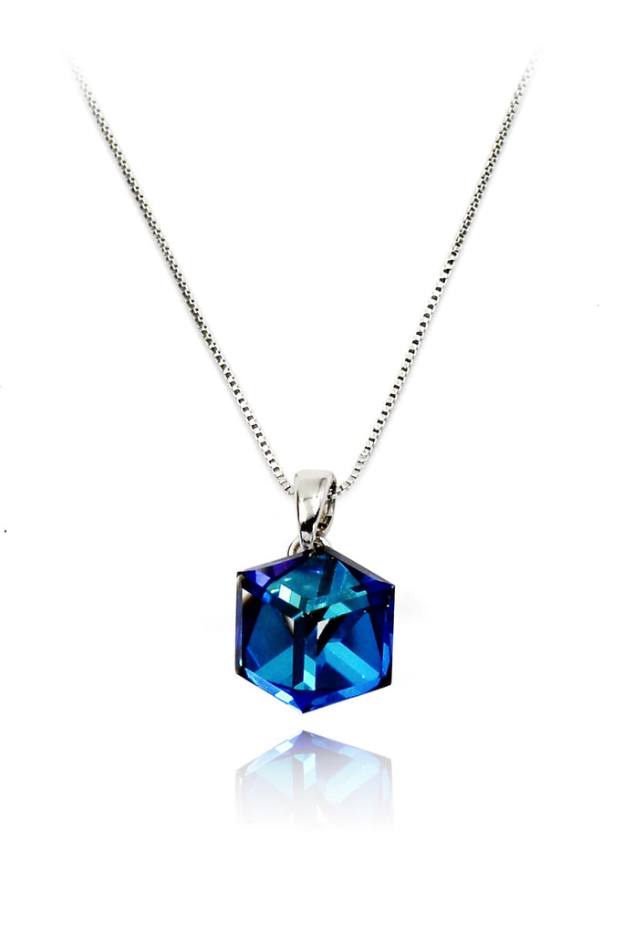blue crystal necklace ring set