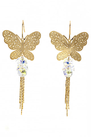 Brilliant crystal flower earrings