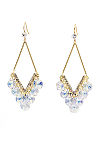 fashion golden circle crystal earrings